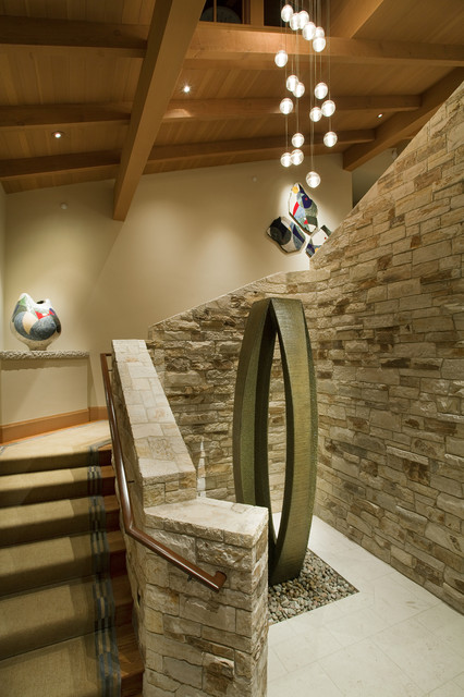 Carmel Valley Transitional Farmhouse eclectic-staircase