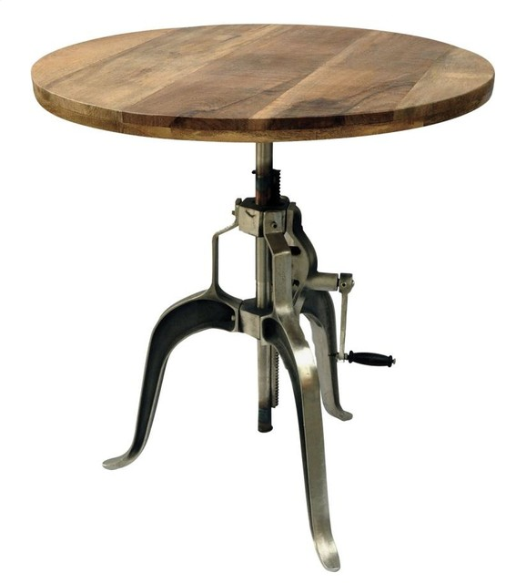 Industrial Adjustable Crank Dining Table With Mango Wood