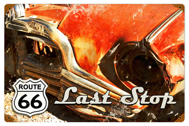 Route 66 Last Stop Vintage Metal Sign modern-home-decor