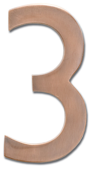 "4"" Floating House Number Antique Copper ""3"" traditional-house-numbers"