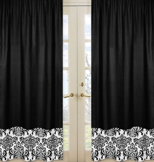 Isabella Hot Pink, Black and White Window Panel - Set of 2 by Sweet Jojo Designs traditional-curtains