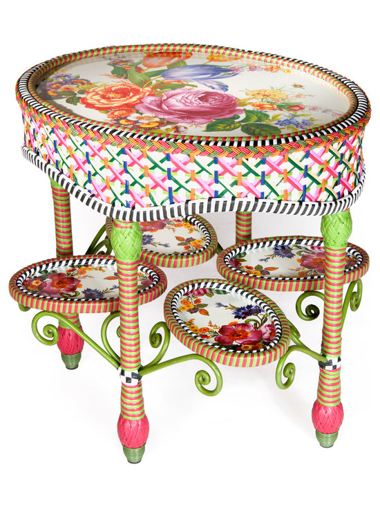 Flower Market Outdoor End Table | MacKenzie-Childs - Our Flower Market Outdoor Furniture Collection blooms where planted. We've captured the colors of summer in Aurora—pink, fuchsia, green, orange, red and blue—with this collection. Fancy, fun, and just a touch eccentric, with inset Flower Market enamelware panels and black and white accents, front and back. Sturdy, easy care, and made to withstand the elements. Hand-woven resin wicker, powder-coated metal accents, solid iron frame.