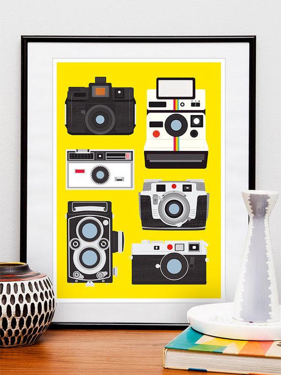 Poster Print - Retro Cool Cameras (polaroid, leica, holga...) -