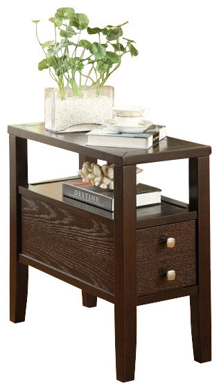 Begonia Espresso Finish Wood And Chair End Table With Storage Drawer Contemporary Side