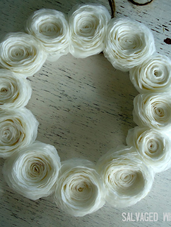 Small White Paper Flower Wreath - Simple paper flower wreath