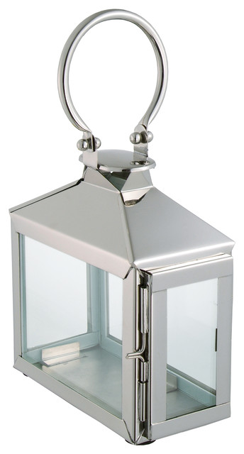 Zarina Modern Polished Silver Nickel Candle Lantern transitional-candles-and-candleholders