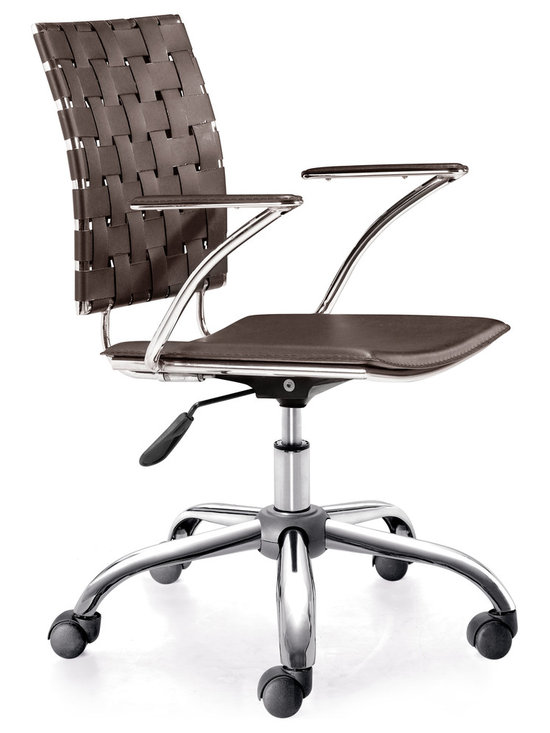 ZUO MODERN - Criss Cross Office Chair Espresso - This fun and functional office chair combines a modern and transitional look. The Criss Cross office chair is made with a solid steel chrome frame and base, leatherette straps and seat, and includes an adjustable height feature.