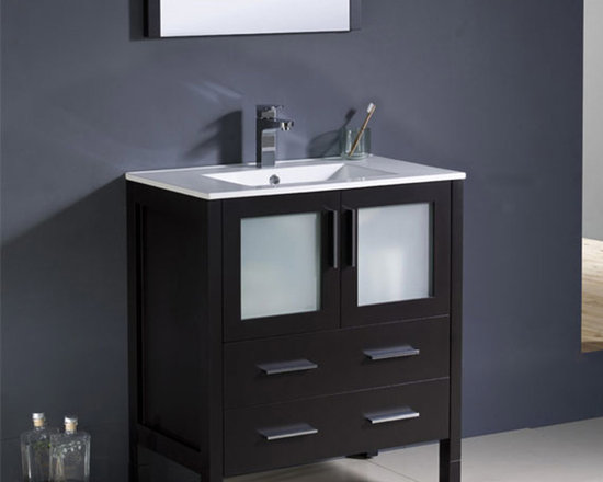 Fresca - Fresca Torino 30 Espresso Modern Bathroom Vanity w/ Integrated Sink - Create essential storage space in your bathroom for toiletries and beauty products with the Torino 30 vanity from Fresca. Featuring a rich Espresso finish and frosted glass panels, this vanity will look great in both modern and traditional bathrooms. With a robust and durable construction, this vanity comes complete with the integrated ceramic sink, which provides a neat finish. Torino Bathroom Vanity Details:   Dimensions:30W x 18 1/8D x 33 3/4H Material: Plywood with Veneer, integrated ceramic sink Finish: Espresso Please note: faucet not included