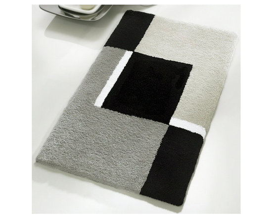 """Luxury Contemporary Gray Bath Mat - Large (23.6"""" x 35.4"""") - Inexpensive way to add the wow factor to your bathroom.  Black and grey are classic and timeless colors.  This contemporary large grey bathroom rug is washable and non-slip / non-skid. Made from soft polyacrylic yarn which is warm, absorbent and dries quickly.  High quality densely woven gray bath mat is durable, mold and mildew resistant."""