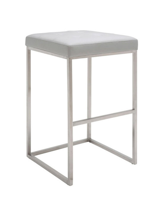Nuevo Chi Stool - Chi is a modern stool with a classical design style. Chi is made with a brushed stainless steel frame and a CFS foam padded seat covered in Nauga eco leather. Avilable in white, black and grey. Dimensions: 18 x 18 x 30H; seat height: 30; seat depth: 18; footrest height: 12 (inches).