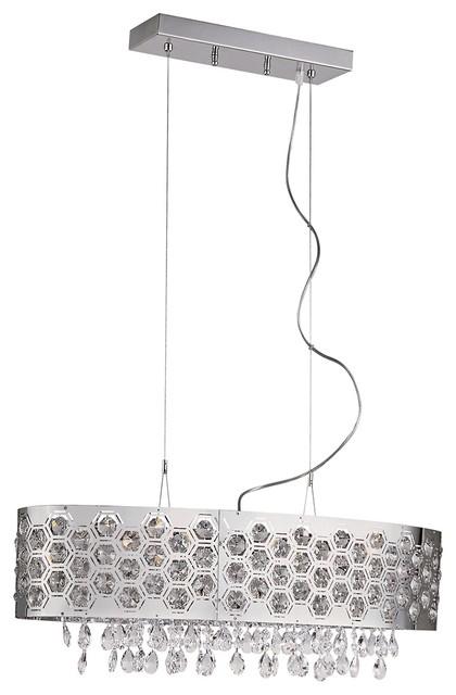 "Contemporary Inset Pentagons 28"" Wide 6-Light Crystal Pendant Light contemporary-pendant-lighting"