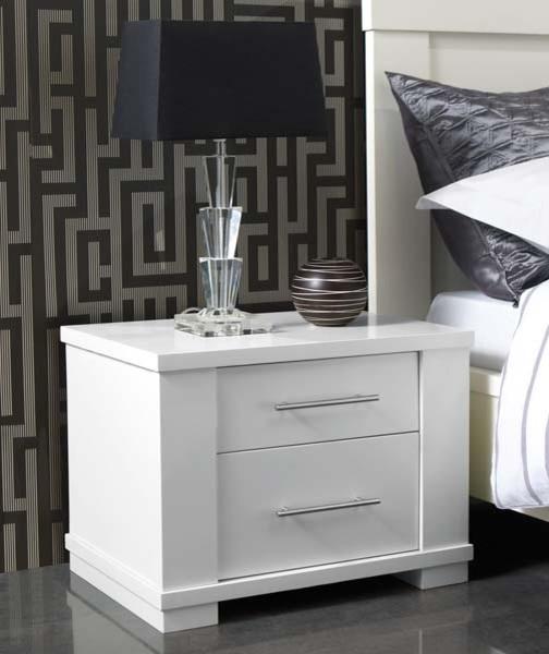 metro 2 drawer bedside chest white modern dressers
