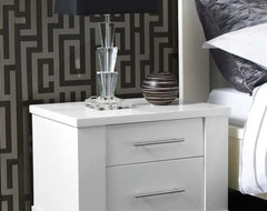 Metro 2 Drawer Bedside Chest, White modern dressers chests and bedroom armoires
