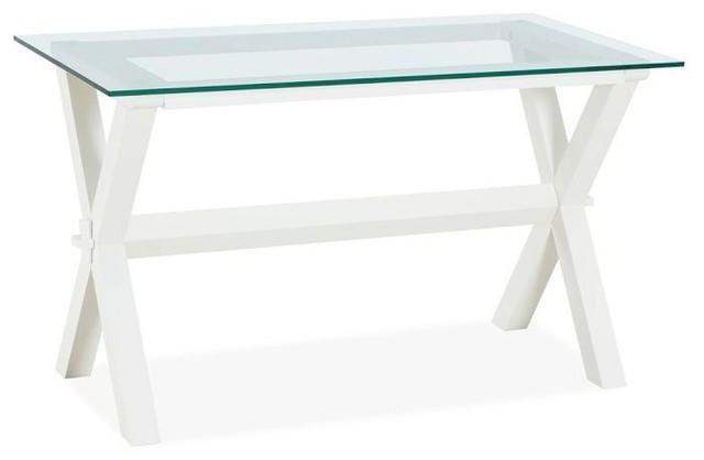 Ava Wood & Glass Desk, Antique White - Traditional - Desks And Hutches ...