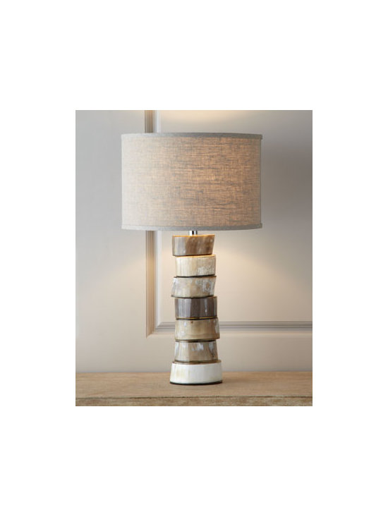 Jamie Young - Jamie Young Stacked Horn Table Lamp - Distinctive, handsome, and certainly out of the ordinary, this lamp features a body made of segments of natural, shaped buffalo horn in an organic pillar. Each piece moves slightly, and due to the nature of natural horn, colors and striations will vary....