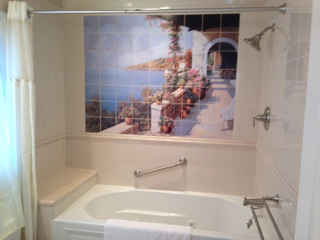 Italian coast decorative bathroom tile mural for Bathroom mural tiles