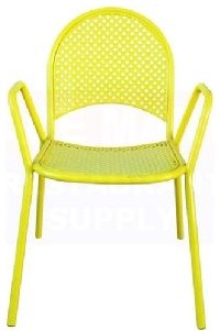 Bright Yellow Lattice Metal Chair eclectic-outdoor-lounge-chairs