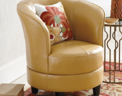 Rebecca Leather Swivel Chair traditional-armchairs