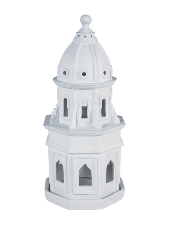 """Inviting Home - Bisque Porcelain Cathedral - hand-made bisque porcelain cathedral 6""""x 6""""x 12-3/4""""H Bisque porcelain is unglazed white ceramic ware. It�s fired under extremely high temperatures. Its pure white slightly rough texture is beloved by experts and collectors. Architectural models can double as whimsical candle stands. Place a tea light or candle in the center of the porcelain tray and you will see windows light up like a cathedral on Christmas Eve."""