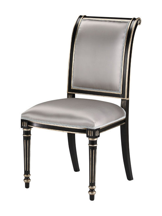 "Inviting Home - Regency Style Chair - Regency style carved wood side chair; seat: 20""W x 19""D x 20""H; back: 38-1/2""H; hand-crafted in Italy; Regency style carved wood chairs with black finish antiqued silverleaf trim. Chairs have grey upholstery. These upholstered chairs are hand-crafted in Italy."