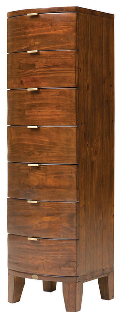 rounded wood 7 drawer tall dresser tropical new york by zin home. Black Bedroom Furniture Sets. Home Design Ideas