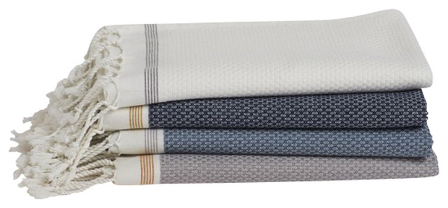 Organic Cotton Mediterranean Towel Indigo W Mustard Bath Towel Transition