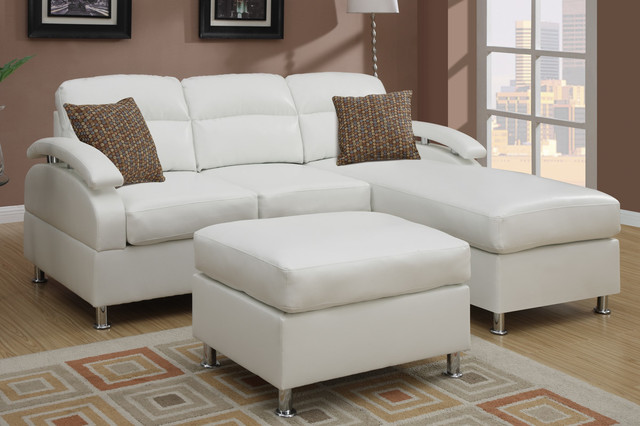 Modern Small Cream Leather Sectional Sofa Reversible
