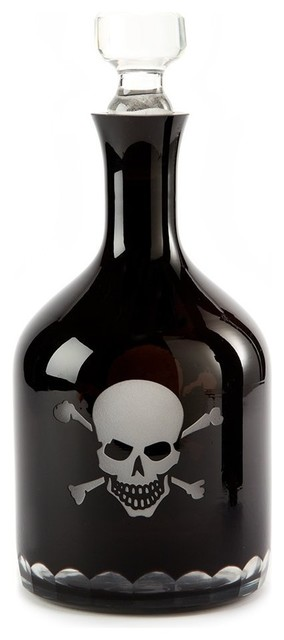 """12"""" Skull & Crossbones Etched Glass Decanter contemporary-decanters"""