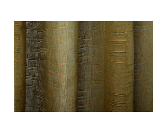Linen Sheer Horizontal Stripe Drapery in Olive/Peach - Linen Sheer Horizontal Stripe Drapery Fabric in Peach & Olive. A 100% Belgian linen ideal for drapes, roman shades, curtains, and bed canopy.