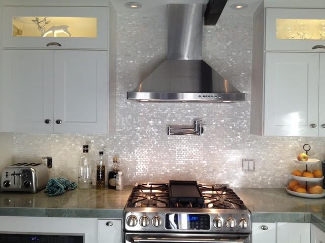 white mother of pearl minibrick tile for backsplash and bathroom