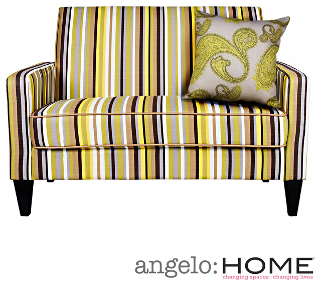 Angelo Home Sutton Sunflower Yellow Stripe Loveseat Contemporary Loveseats By