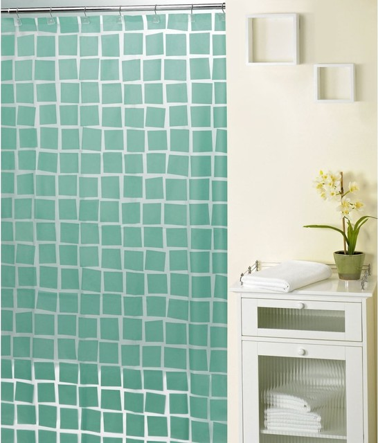 real squares aqua shower curtain contemporary shower. Black Bedroom Furniture Sets. Home Design Ideas