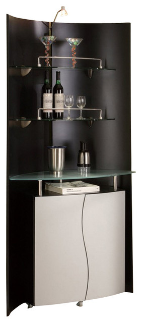 M7442 Black & Silver Finish With Glass Shelves Bar Wall ...