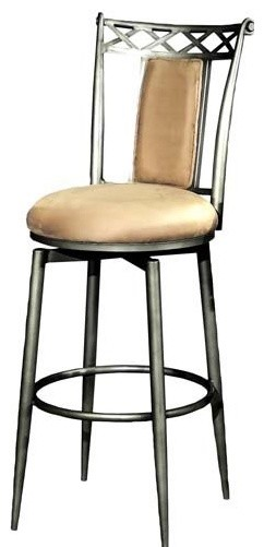 Chintaly Roma Swivel Counter Stool - Rust Silver traditional-bar-stools-and-counter-stools