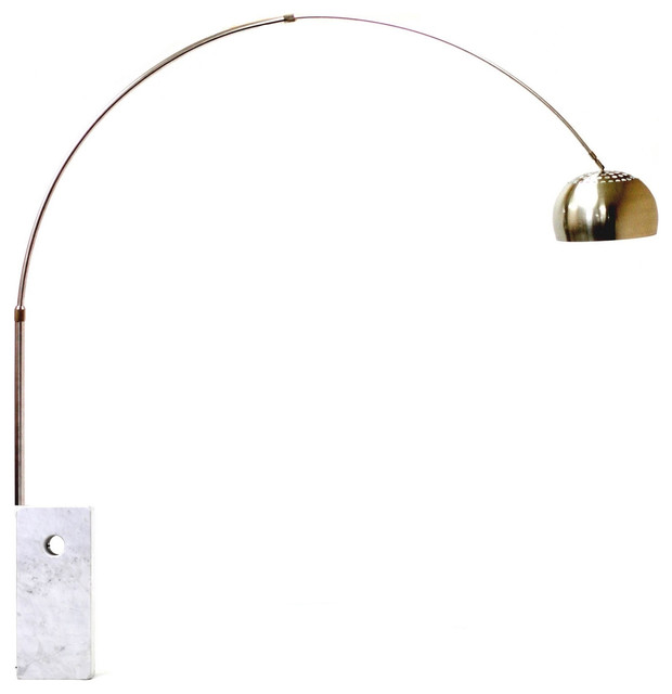 arco style lamp with large cube marble base white