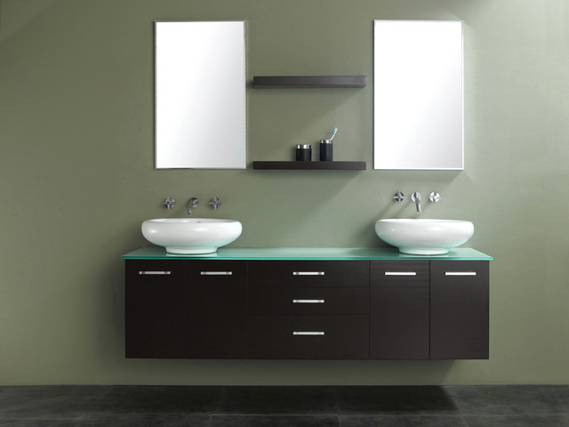 "58"" Millenium Double Vessel Sink Vanity - modern - bathroom"
