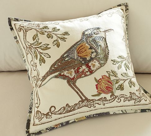 Anna Marie Bird Applique Pillow Cover - Contemporary - Decorative Pillows - by Pottery Barn
