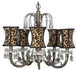 Waterfall Chandelier with Leopard Shades eclectic-chandeliers