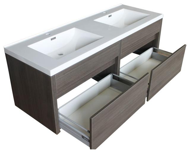 Mounted Double Sink Vanity with Acrylic Top modern-bathroom-vanities ...
