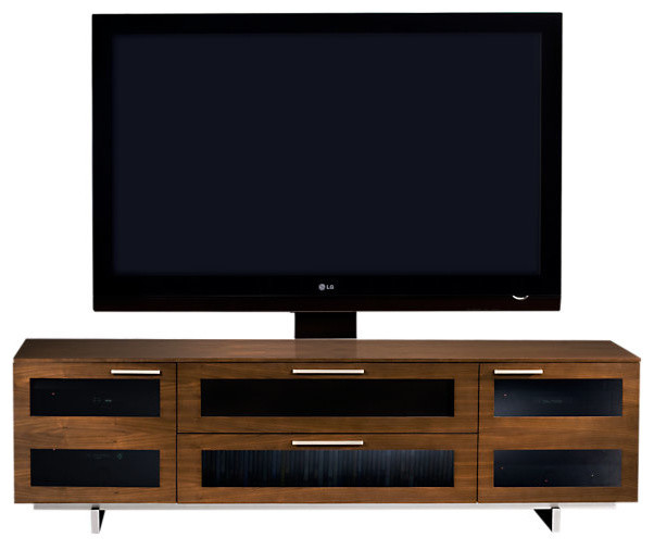 Avion II TV Stand, Quad Wide with cabinet, Chocolate Stained Walnut contemporary-media-storage