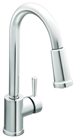 Moen Level Classic One Handle High Arc Pulldown Spray Kitchen Faucet eclectic-kitchen-faucets