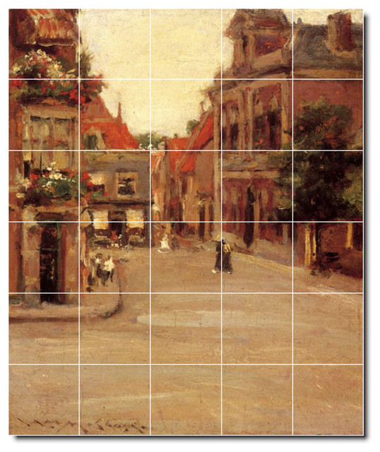 The Red Roofs Of Haarlem Tile Mural By William Chase traditional-tile-murals