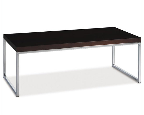 Ave Six Rectangle Wood Top Coffee Table in Espresso - The chrome and dark brown espresso styling of the Avenue Six Wall Street Coffee Table provides a casual, modern feel in your contemporary living room. The solid engineered table top and leg attachments create a sturdy design. The Wall Street Coffee Table says: sit back and rest your mug here.
