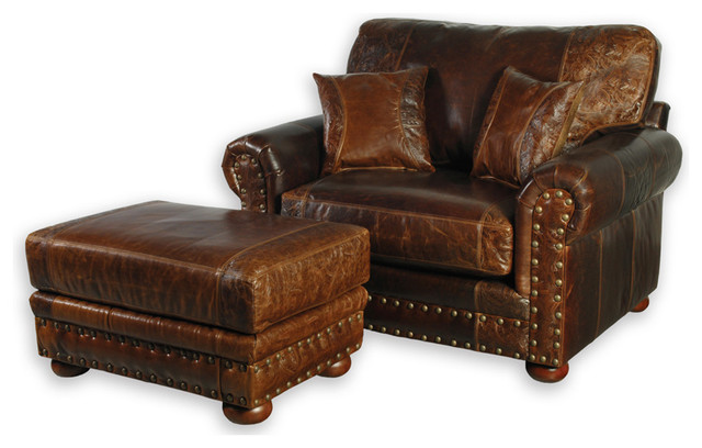 Western Style Leather Sofa Chair Southwestern