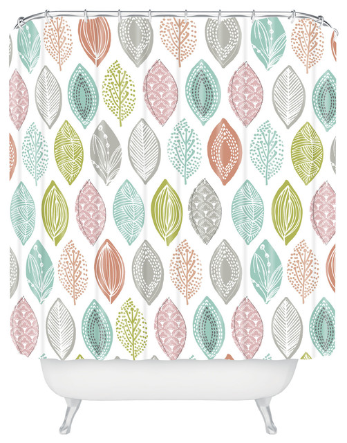 Wendy Kendall Leaf Pod Shower Curtain contemporary-shower-curtains