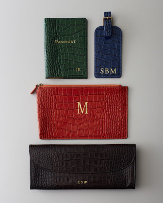 Graphic Image Crocodile-Embossed Leather Passport Cover, Plain traditional-desks