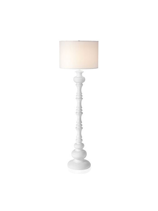Mariposa Floor Lamp, White - Keep winter white in your home all season long. This floor lamp is bold enough to hold its own but subtle enough to be surrounded by all of your other beautiful furnishings. I love that its unique lines are the focus.