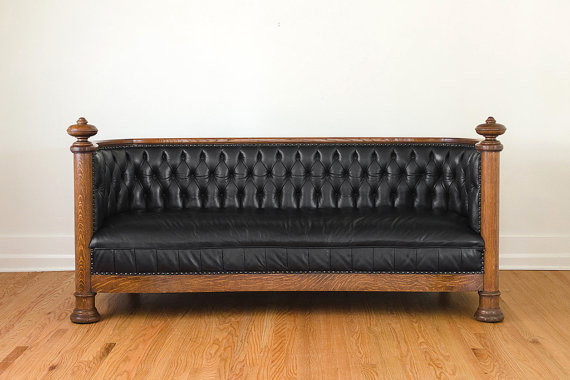 Antique Restored Black Leather Chesterfield by Homestead Traditional Sofas by Etsy