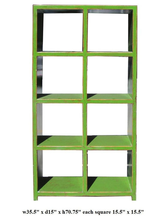 Green Rustic Lacquer 8 Square Display Cabinet - This is a modern made display cabinet / bookshelf with 8 square opening. The surface is painted in bright green color with rustic touch. It can be placed against the wall or as a room divider. Hand done color, variation in finish.