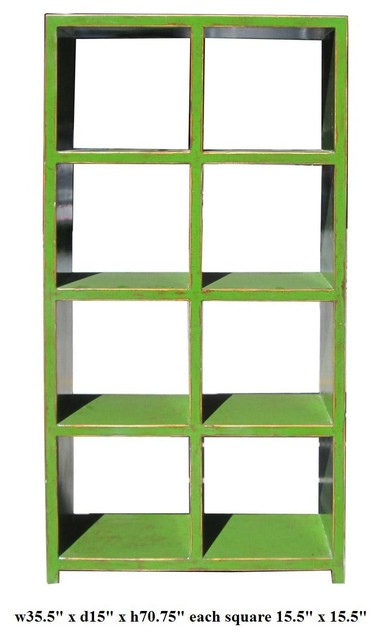 Green Rustic Lacquer 8 Square Display Cabinet - Contemporary - China Cabinets And Hutches ...